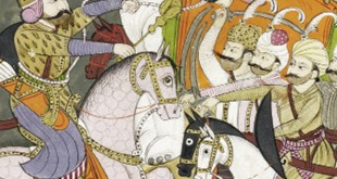 Rostam prend le khaqan de Chine au lasso et le jette au bas de son éléphant blanc (détail), Tiré d'un shahnameh (livre des rois), Cachemire, Inde, vers 1790. Aquarelle opaque et or sur papier,25,7 x 14,3 cm. Collection Edwin Binney 3rd, The San Diego Museum of Art, 1990.555. www.sdmart.org