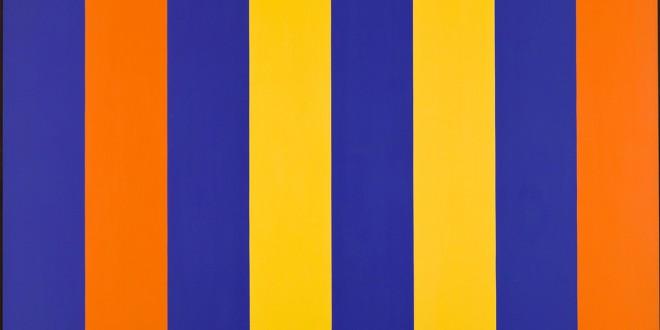 En haut : Guido Molinari, Espace orange-bleu, 1964, acrylique sur toile, 206 x 274,5 cm. Coll. MNBAQ, don de Guy Molinari (2009.236) Photo : MNBAQ, Idra Labrie