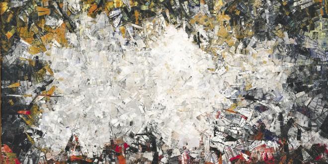 Jean-Paul Riopelle, Poussière de soleil, 1954. Huile sur toile, 245,2 x 345,3 cm. Coll. MNBAQ, achat par la Fondation du MNBAQ à la faveur d'une contribution spéciale du ministère de la Culture et des Communications du Québec. Photo : MNBAQ, Idra Labrie © Succession Jean-Paul Riopelle / SODRAC (2013)