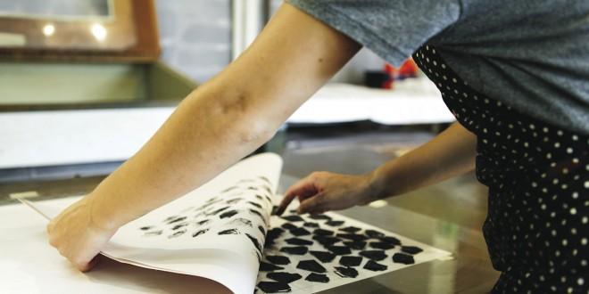 Andréanne Jacques, Laboratoire d'exploration, Vue de l'atelier de gravure, 2013. Photo Marion Gotti