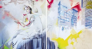 Marie Chantal Le Breton, Calcutta mon amour, acrylique et crayon sur bois, 40x60 po