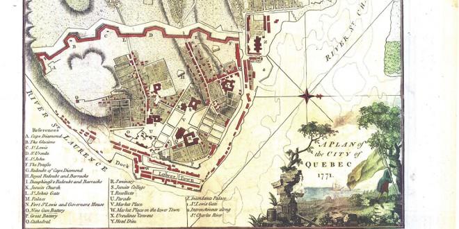 """Extrait de """"A Plan of the City of Québec, 1771"""". Oeuvre tirée des collections de Bibliothèque et Archives nationales du Québec."""