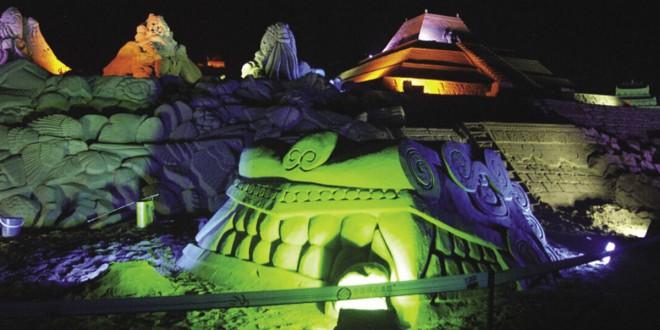 Festival de sable en Chine. Sculpture de sable réalisée par un collectif dont Michel Lepire faisait partie. Photos © Michel Lepire
