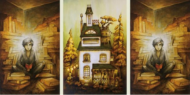 Veritas Acrylique sur papier aquarelle, 35 x 55 cm, 2010. Maison d'été Acrylique sur papier aquarelle, 35 x 55 cm, 2011.