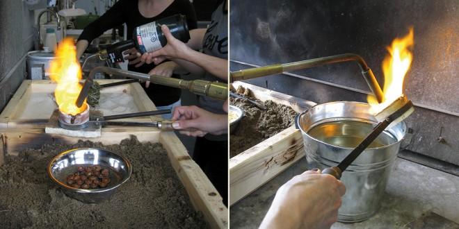 Images prise lors de la formation Coulée garage qui a eu lieu à l'École de Joaillerie de Québec. Photos Marie-Hélène BÉLANGER
