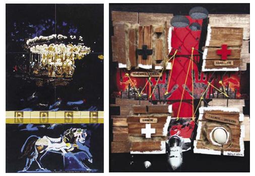 À gauche : Rose Circus, 2013. Acrylique sur toile. 106 x 180 cm. À droite : La fragilité de l'être, 2012. Jet d'encre UV liquide sur bois et acrylique. 24 x 20 cm. Collection privée.