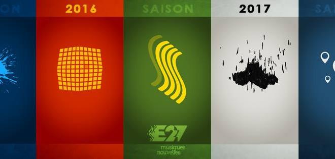 La bannière de la saison 2016-2017, illustrant chacun des spectacles de la programmation en plus de l'Escouade musique nouvelle. (illustration : Jean-Vincent Roy)