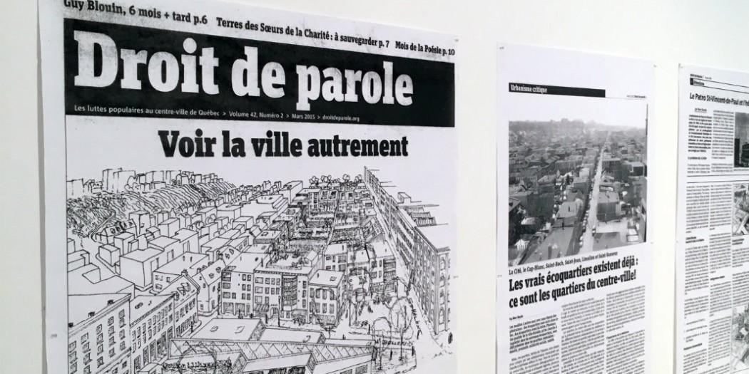 Textes phares de Marc Boutin agrandis et exposés au Lieu. Crédits : Patrick Dubé