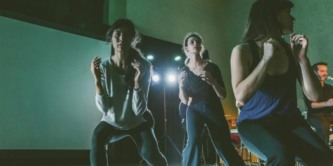 Geneviève Duong, Maryse Damecour, Léa Ratycz-Légaré et Daniel Bélanger au micro, du projet Les Veillées, voir page 19. Photo Pierre-Marc Laliberté