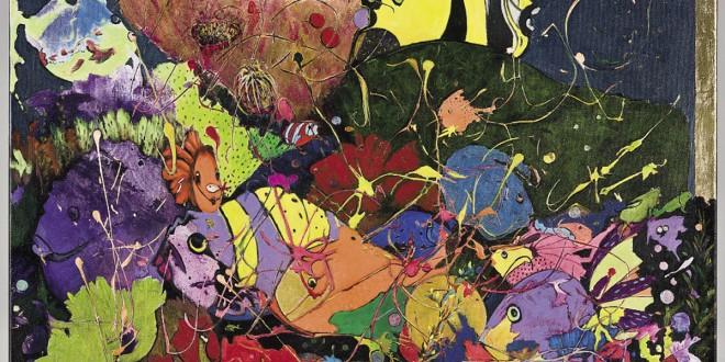 De la visite rare (détail) de Lyse Marsan. 30 pouces x 36 pouces, techniques mixtes (2012).