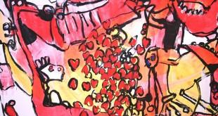 Ci haut : La guerre des tranchées de Marc-André Drouin (2006) Gouache sur mur, exposition à l'Oeil de Poisson. Photo Marc-André Drouin